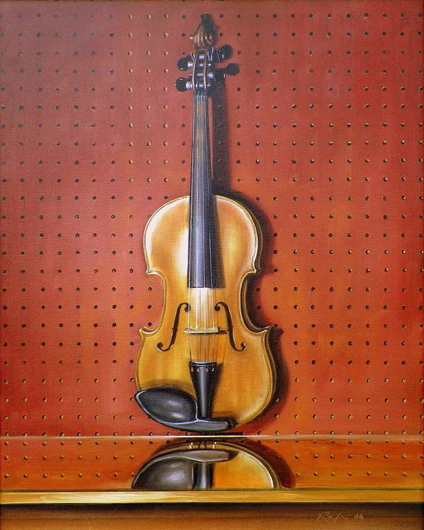 Art Poster featuring the painting Still Life of Violin by RB McGrath