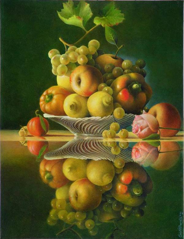 Still Life Poster featuring the painting Still Life with a Rose by Giuseppe Mariotti