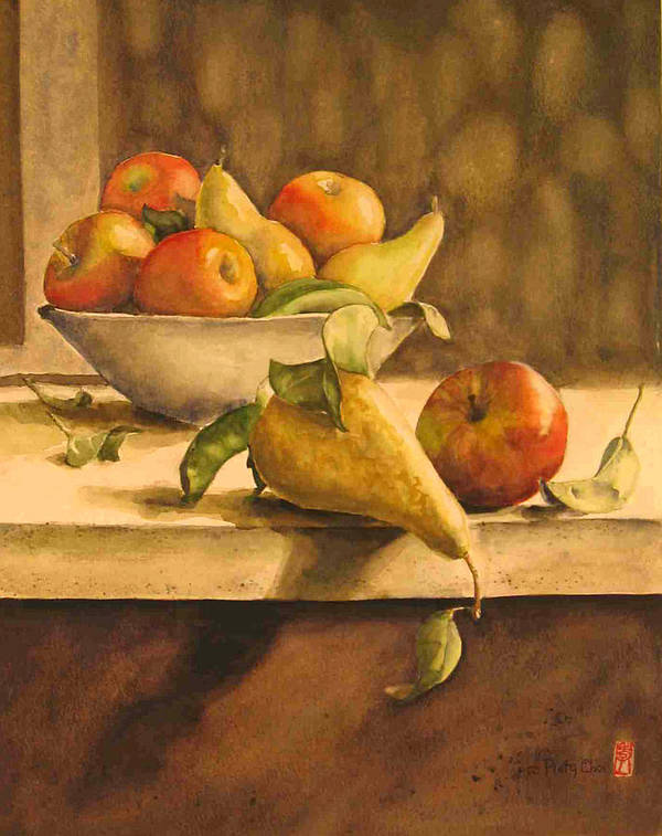 Still-life Poster featuring the painting Still-life with Apples and Pears by Piety Choi