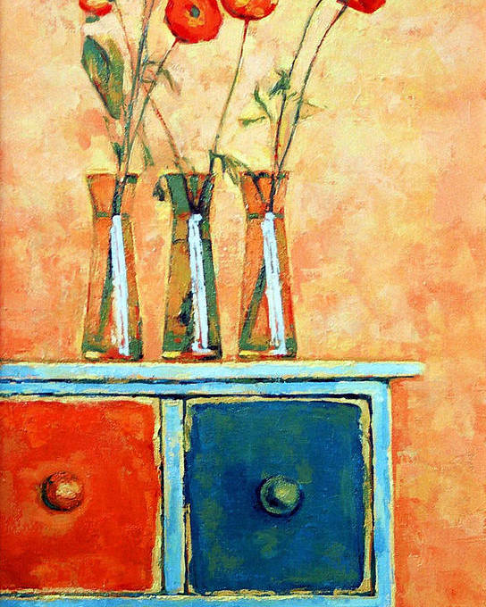 Poppies Poster featuring the painting Still Life With Poppies by Iliyan Bozhanov
