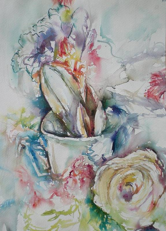 Still Life Poster featuring the painting Still Life With Rose by Aleksandra Buha