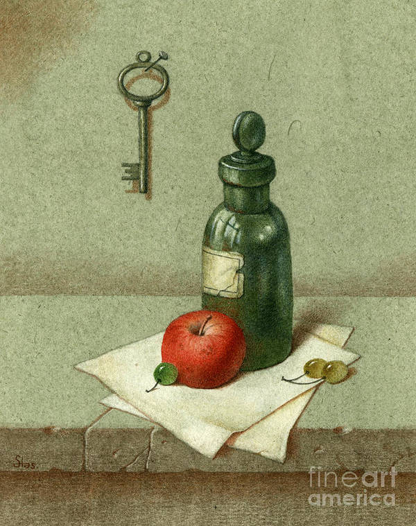 Apple Poster featuring the painting Still Life With Vial by Victor Sap