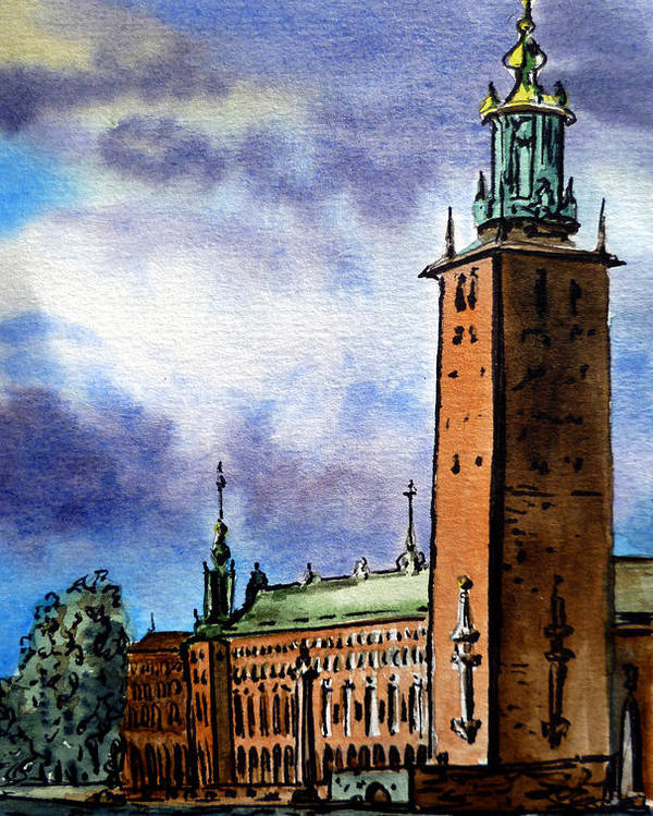 Stockholm Poster featuring the painting Stockholm Sweden by Irina Sztukowski