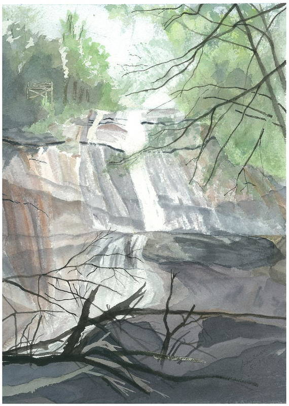 Stone Mtn Falls Poster featuring the painting Stone Mountain Falls - The Upper Cascade by Joel Deutsch
