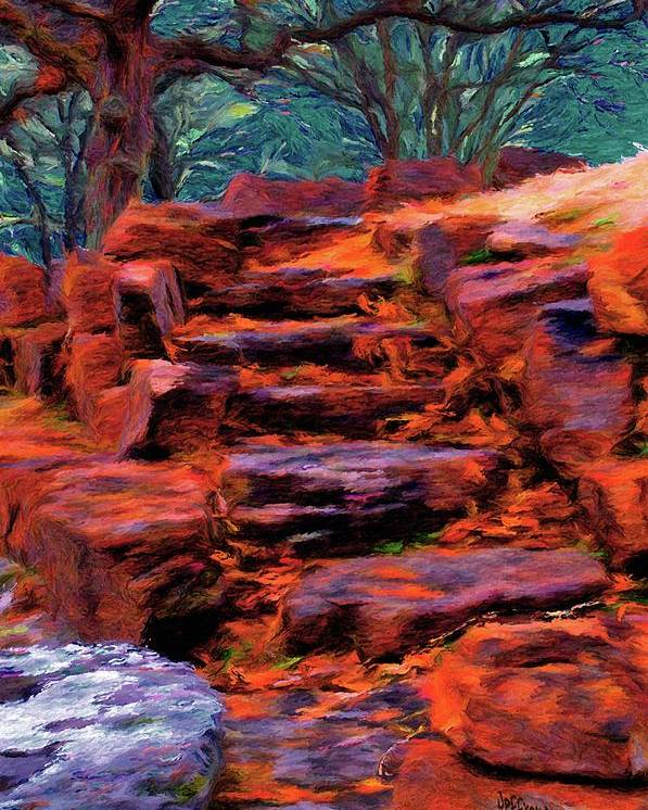 Stone Steps Poster featuring the painting Stone Steps In Autumn by Jeffrey Kolker