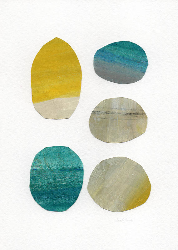 Abstract Art Poster featuring the mixed media Stones- Abstract Art by Linda Woods