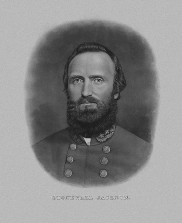 Stonewall Jackson Poster featuring the drawing Stonewall Jackson by War Is Hell Store