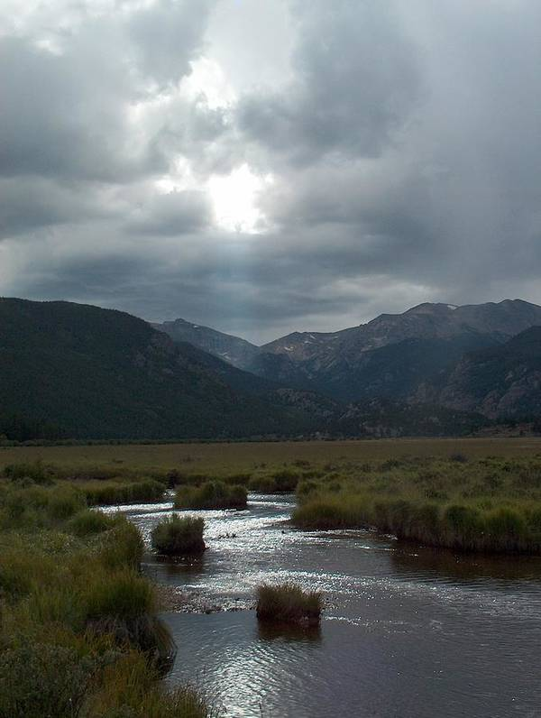 Clouds Poster featuring the photograph Storm Over Moraine Park Rocky Mountain National Park by Denise  Hoff