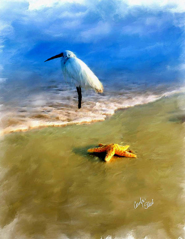 Egret Poster featuring the digital art Storm Watcher by Carolyn Staut