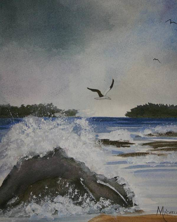 Ocean Poster featuring the painting Stormy Inlet by Michele Turney