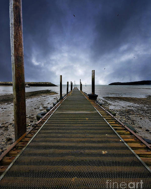 Angling Poster featuring the photograph Stormy Jetty by Meirion Matthias