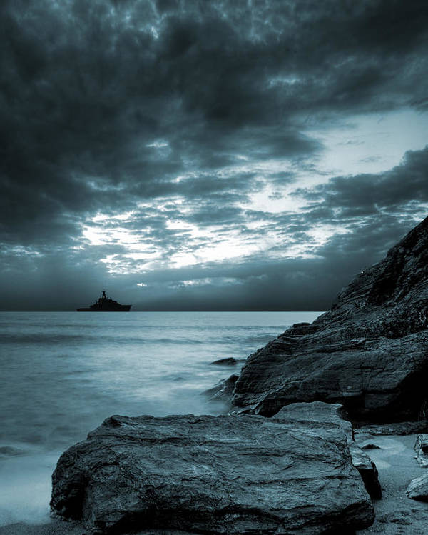 Bay Poster featuring the photograph Stormy Ocean by Jaroslaw Grudzinski
