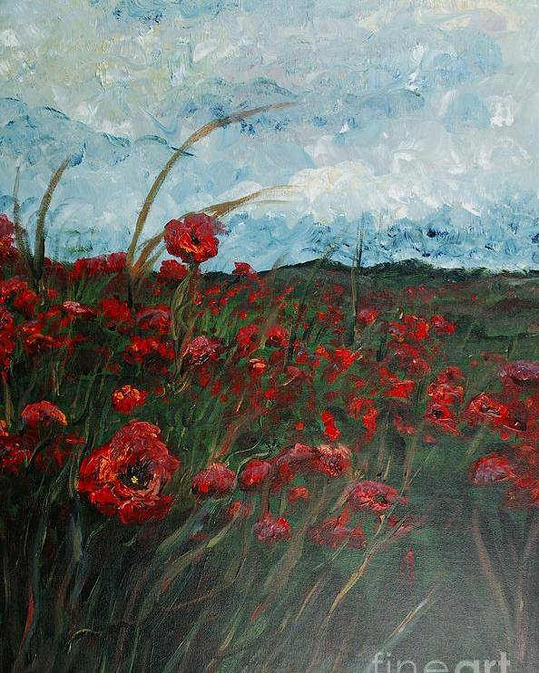 Poppies Poster featuring the painting Stormy Poppies by Nadine Rippelmeyer