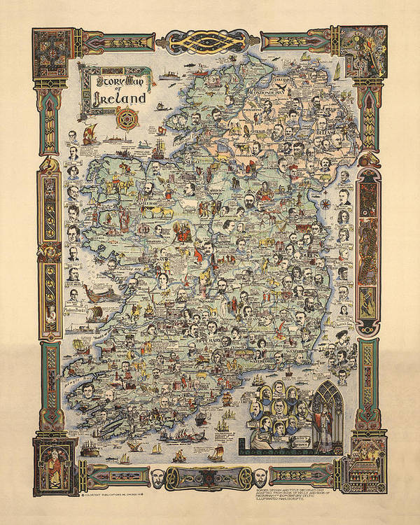 Map Of Ireland Poster.Story Map Of Ireland Antique Illustrated Map Pictorial Map