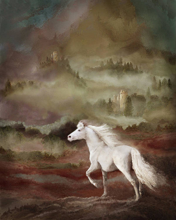 Fantasy Horses. French Castles Poster featuring the photograph Storybook Stallion by Melinda Hughes-Berland