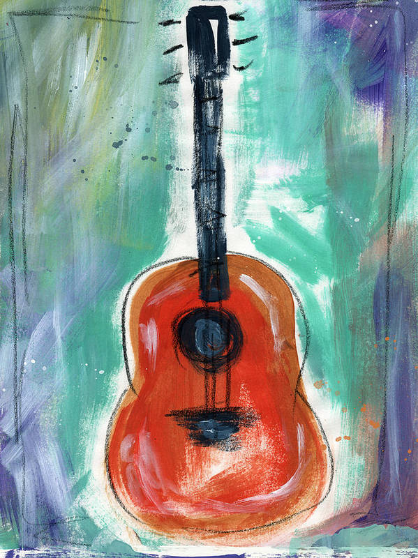 Guitar Poster featuring the painting Storyteller's Guitar by Linda Woods