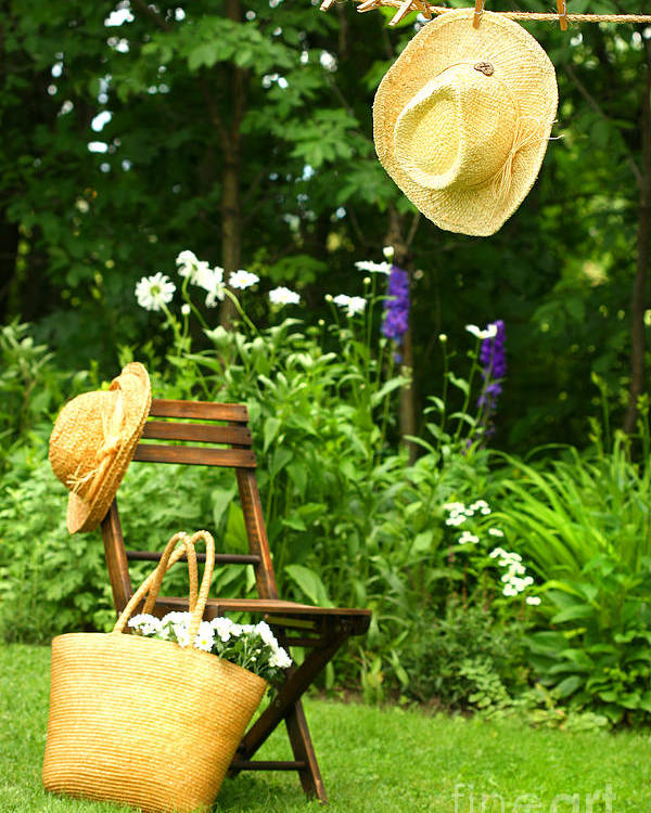 Breeze Poster featuring the digital art Straw Hat Hanging On Clothesline by Sandra Cunningham