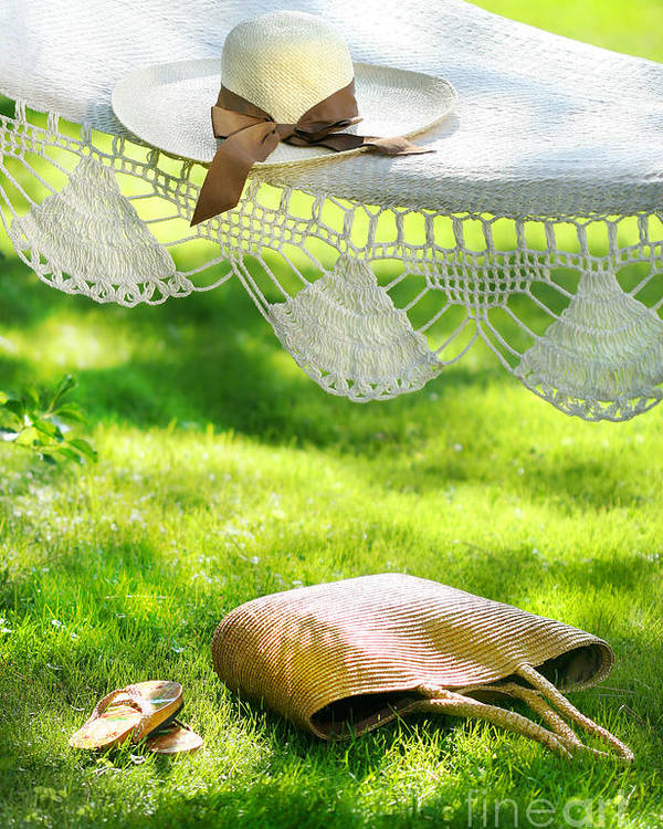 Bliss Poster featuring the digital art Straw Hat With Brown Ribbon Laying On Hammock by Sandra Cunningham
