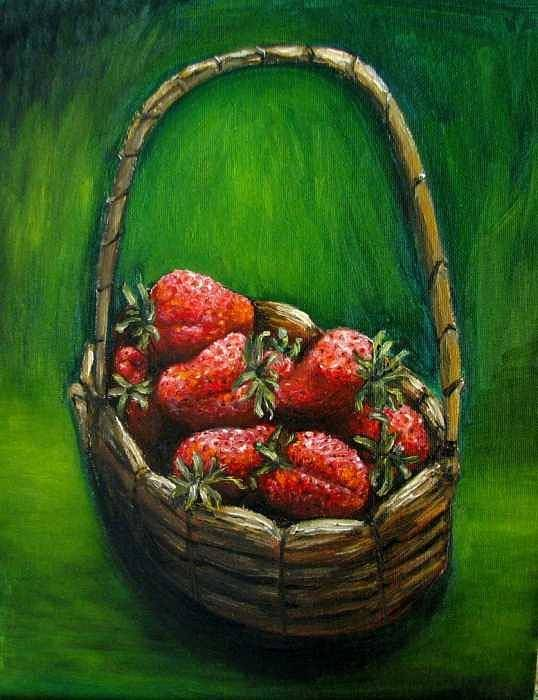 Strawberries Poster featuring the painting Strawberries Contemporary Oil Painting by Natalja Picugina
