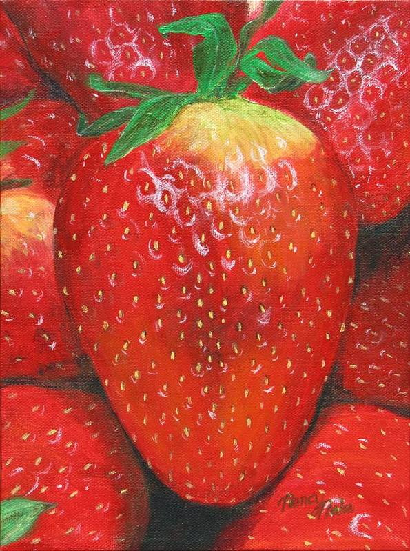 Strawberries Poster featuring the painting Strawberries by Nancy Nale