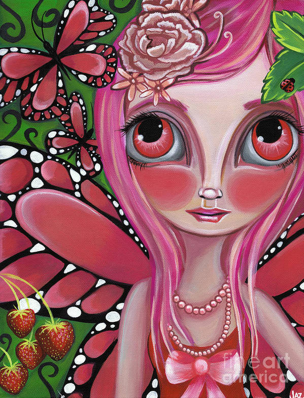 Art Poster featuring the painting Strawberry Butterfly Fairy by Jaz Higgins
