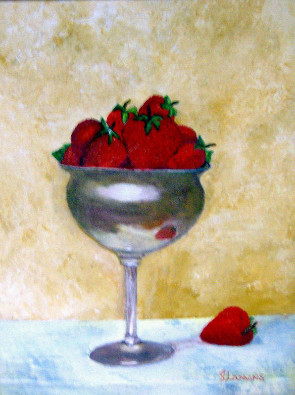 Still Life Poster featuring the painting Strawberry Feast by Julie Lamons