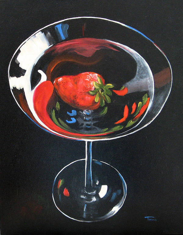 Bar Art Poster featuring the painting Strawberry Martini by Torrie Smiley