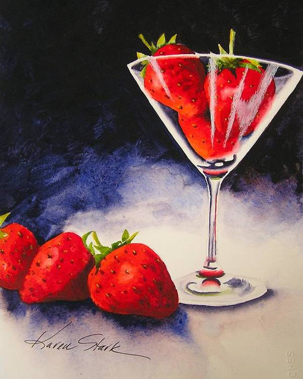 Strawberry Poster featuring the painting Strawberrytini by Karen Stark