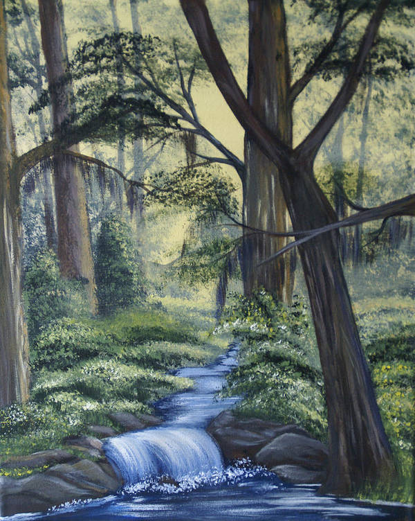 Landscape Poster featuring the painting Stream In The Low Country by Judy Moses