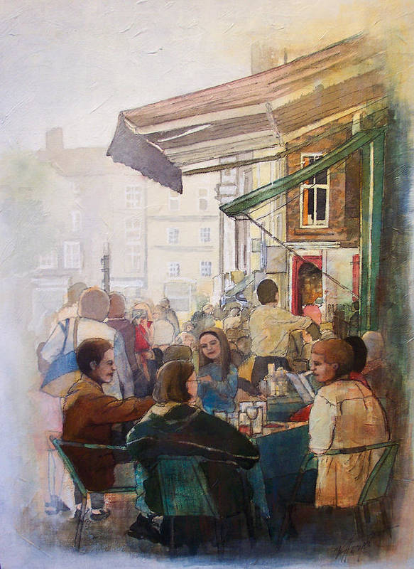 Cafe Poster featuring the painting Street Cafe by Victoria Heryet