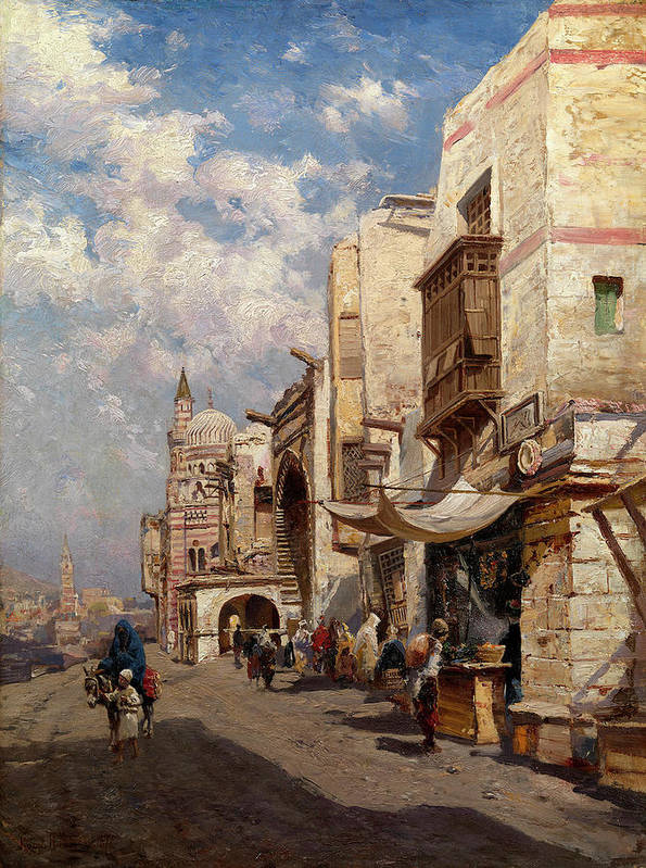 Makovsky Poster featuring the painting Street In Cairo by MotionAge Designs