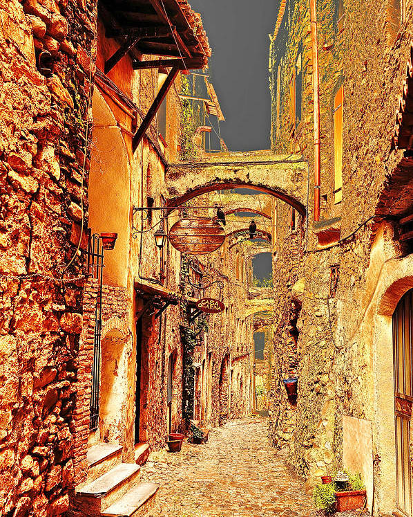 Street Poster featuring the photograph Street In Old Town. by Adriano Bussi