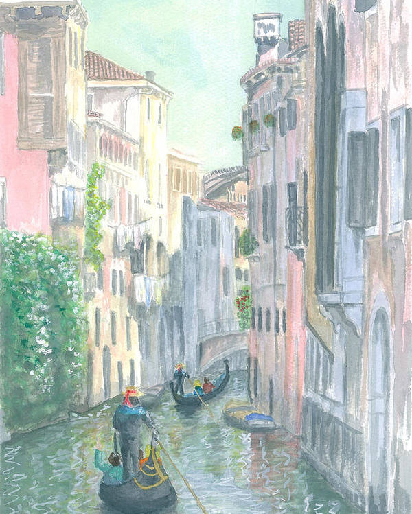 Venice Poster featuring the painting Street Scene by Dan Bozich