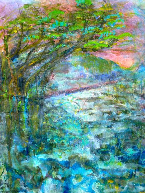 Splash Ink Watercolor Poster featuring the painting Stretching Cypress by Phoenix Simpson