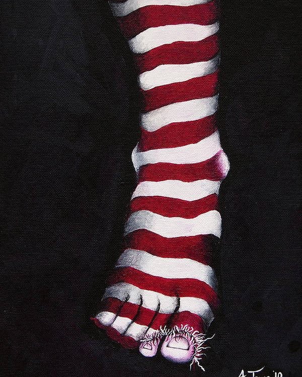 Foot Poster featuring the painting Stripy Steps by Aoife Joyce