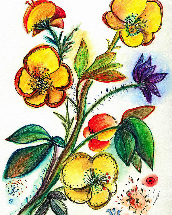 Nature Poster featuring the painting Strong Yellow Flowers by Julie Richman