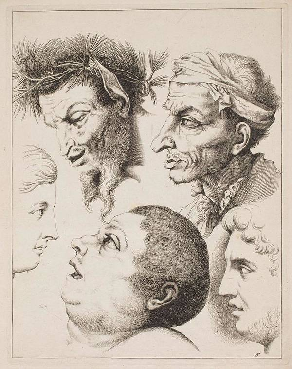 Man Poster featuring the painting Studies Of Heads Anonimo, Blooteling Abraham by Blooteling Abraham