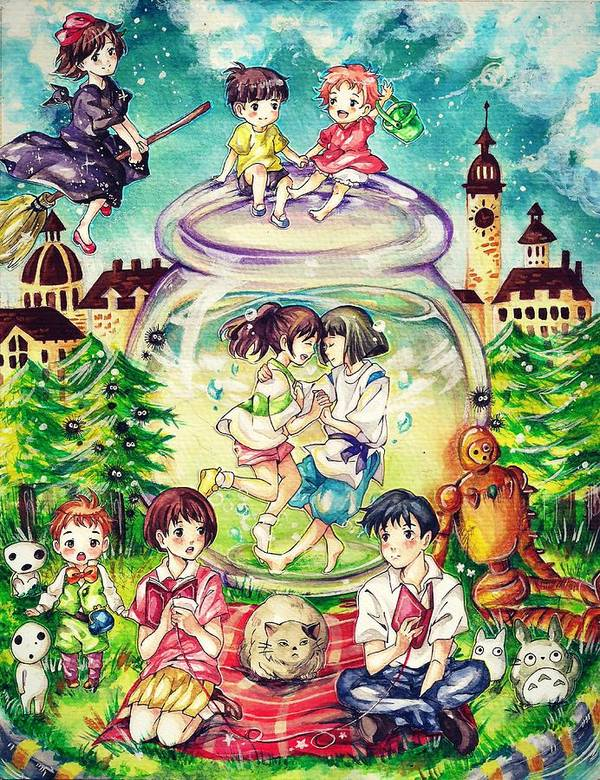 Howls Moving Caslte Poster featuring the digital art Studio Ghibli by  Lobito Caulimon 79171d2541