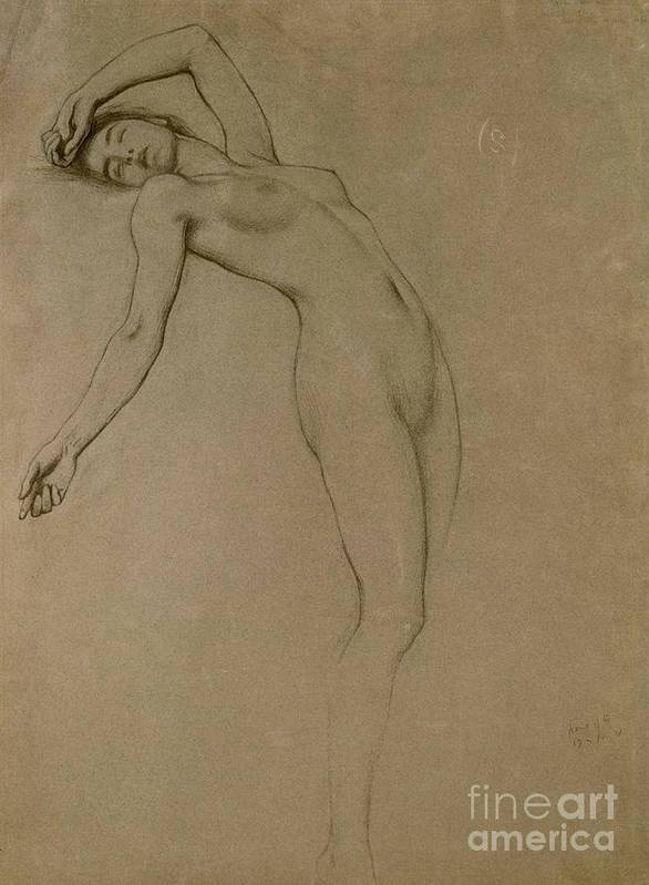 Study Poster featuring the drawing Study For Clyties Of The Mist by Herbert James Draper