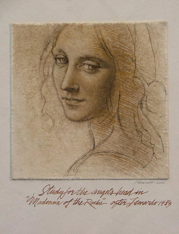 Female Figure Poster featuring the painting Study Madona Of The Rocks After Leonardo by Gary Kaemmer