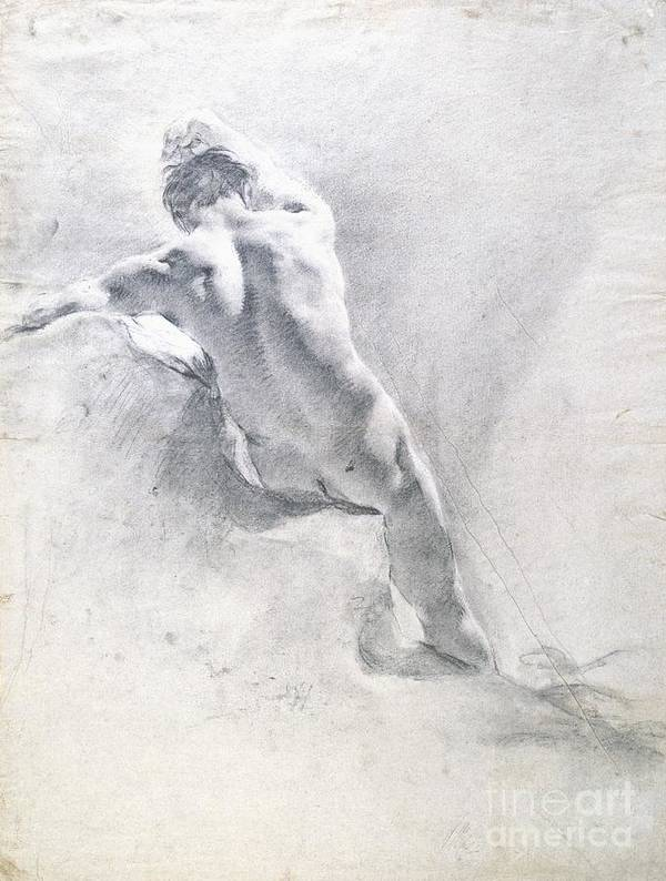 Study Poster featuring the drawing Study Of A Male Nude by Giambattista Piazzetta