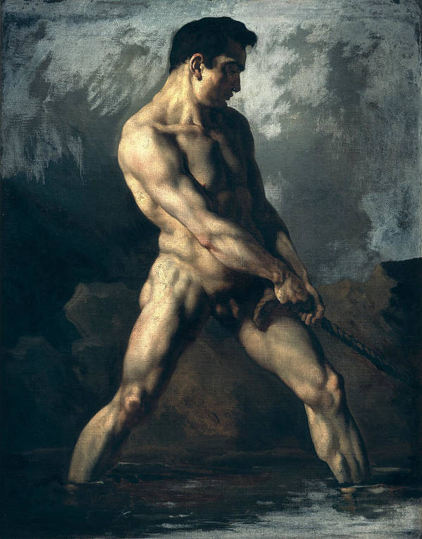 Study Poster featuring the painting Study Of A Male Nude by Theodore Gericault