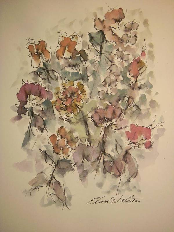 Floral Poster featuring the painting Study Of Flowers W by Edward Wolverton