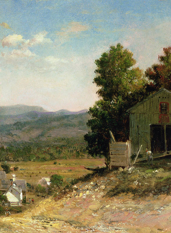 Study Of Old Barn Poster featuring the painting Study Of Old Barn In New Hampshire by George Loring Brown