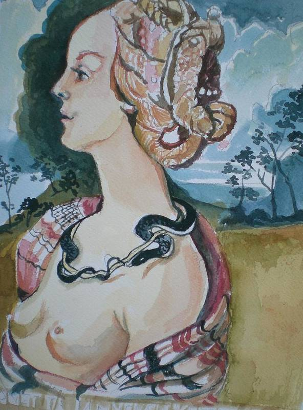 Poster featuring the painting Study Of Vespuccia by Aleksandra Buha