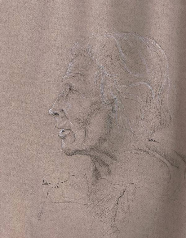 Portrait Poster featuring the drawing Study On The Day Of The Death by Victor Amor