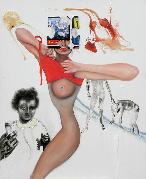 Nude Poster featuring the painting Stylonudics by Riccardo Alone