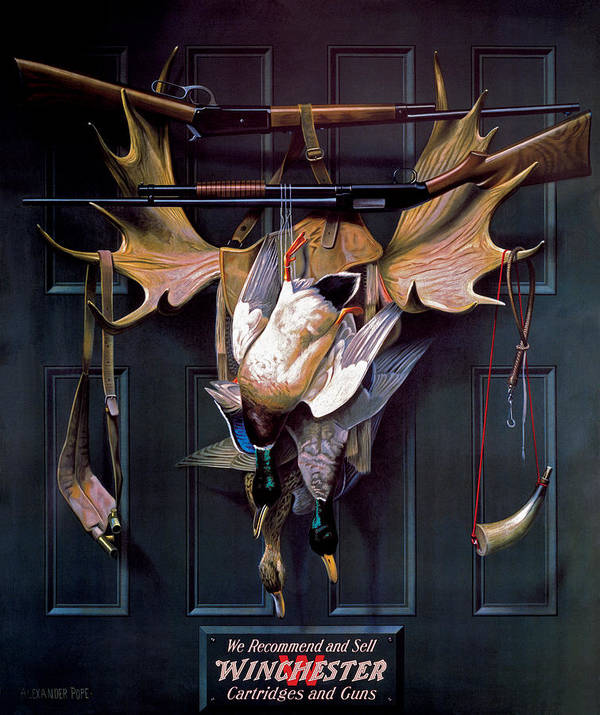 Waterfowl Poster featuring the painting Successful Hunter Door Art by Alexander Pope