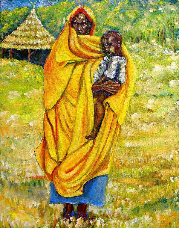 Portraits Poster featuring the painting Sudanese Mother And Child by George Chacon