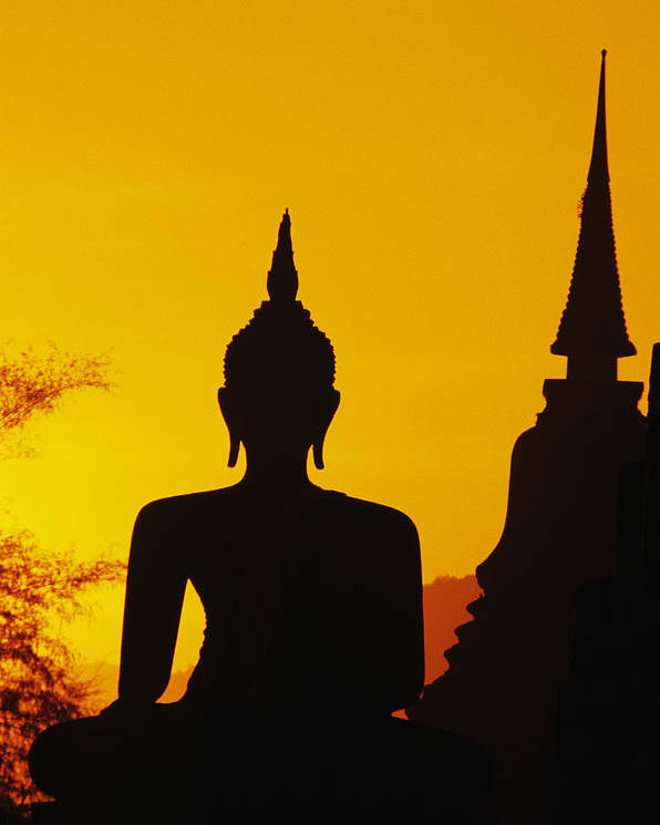 Ancient Poster featuring the photograph Sukhothai Temple by Gloria & Richard Maschmeyer - Printscapes
